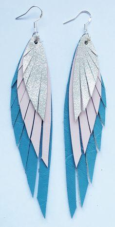 Lange Ohrringe aus Leder, Ohrringe Federn, Boho Look / long earrings, boho look…