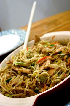 Chicken Chow Mein - A little gingery and I'd add some crunchy cabbage, I think. Also, you need the right noodles and it's easy to get the wrong ones. But it's good, otherwise.
