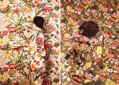 With the help her assistants, make-up and body paint,Peruvian artist Ceclia Paredes seamlessly blends herself into her own intricate, botanical paintings