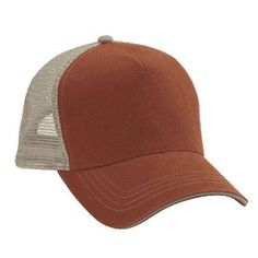 Burnt orange front kahki back low profile trucker hat - Blank Low Profile Trucker hats