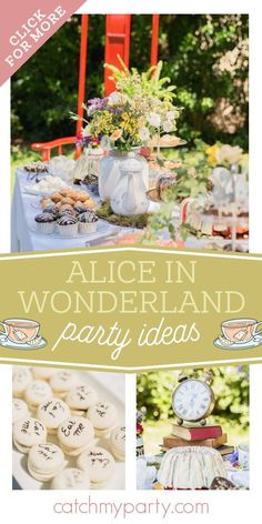 Take a look at this sweet Alice in Wonderland garden tea party baptism! The party food is so impressive! See more party ideas and share yours at CatchMyParty.com Tea Party Desserts, Tea Party Table, Party Cakes, Fun Desserts, Christening Party, Baptism Party, Alice In Wonderland Garden, Garden Cakes, Tea Party Birthday