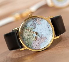 World Map Watch Unisex Watch Leather Watch by Carlydiy on Etsy, $6.99