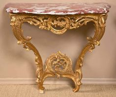 For Sale on - A French, Louis XV carved giltwood console table with a rouge marble top. Italian Furniture, French Furniture, Luxury Furniture, Cool Furniture, Art Deco Decor, Marble Top, Wood Carving, Console Table, Entryway Tables