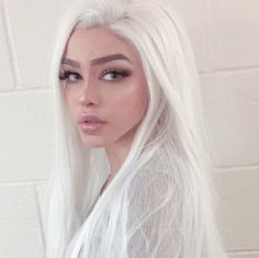 Long White Hair, White Blonde Hair, Dyed White Hair, Natural White Hair, Silver White Hair, Pale Blonde, Blonde Hair Girl, Blonde Wig, Pretty Hairstyles