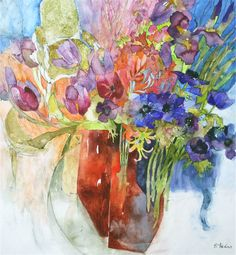 Musical flowers, watercolour by Shirley Trevena