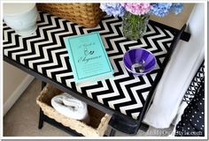 From Plain to WOW!  Add a cardboard covered inset to a tray table.  I also made one to use on a kitchen cabinet door as a memo board.  Quick, easy,  and super affordable. Furniture-makeover ideas  {InMyOwnStyle.com}
