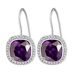 Cercei Nahla Jewels argint cu zirconia violet și zirconii albe