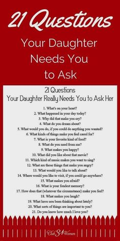 21 Questions Your Daughter Really Needs You to Ask Her Babypflege-Tipps in Telugu # ★ Erziehung ★ Source by . 21 Questions, Dating Questions, Couple Questions, Parenting Advice, Kids And Parenting, Peaceful Parenting, Parenting Classes, Natural Parenting, Gentle Parenting