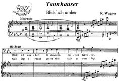 Blick ich umher, bariton aria van Wolfram von Eschenbach in Tannhäuser Sheet Music, Van, Running Away, Vans, Music Sheets, Vans Outfit