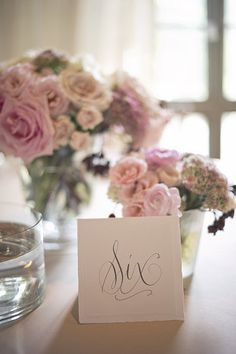You can never go wrong with a little calligraphy. – DIY Ideas For Wedding Table Numbers