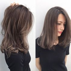 Perfect length & layer for middle length hair style. Medium Hair Cuts, Short Hair Cuts, Medium Hair Styles, Short Hair Styles, Korean Hair Medium, Korean Hair Color Brown, Hair Color Asian, Brown Hair Balayage, Brown Hair With Highlights