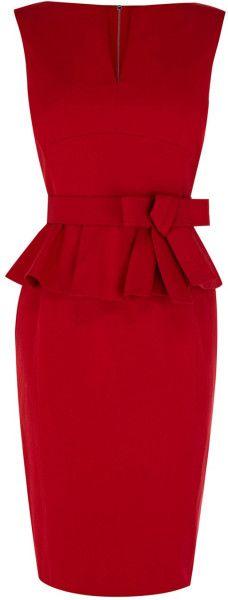 Karen Millen Red Signature Cotton Peplum Dress