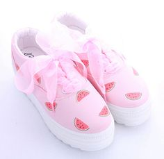 Harajuku sweet painted canvas shoes (watermelon, eye) from Harajuku fashion Kawaii Shoes, Kawaii Clothes, Cute Shoes, Me Too Shoes, Painted Canvas Shoes, Flatform, Shoes Sneakers, Shoes Heels, Shoe Boots