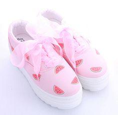 Cute kawaii watermelon printed canvas shoes