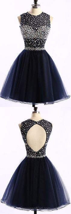 Princess Prom Dresses, Cheap Formal Dresses, Beaded Evening Dresses, Open Back Homecoming Dresses, Black Party Dresses