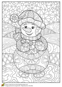Sue Zipkin snowman coloring page sample Download for personal use
