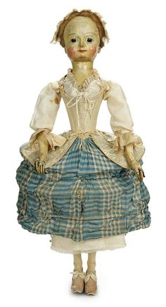 Early 18th Century English Wooden Doll, Original Costume, 1739 Dated Coin Pocket…