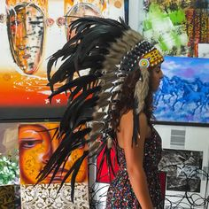 Real Black Chief Indian Headdress 100cm, Native American Costume Hand Made Feathers War Bonnet Hat