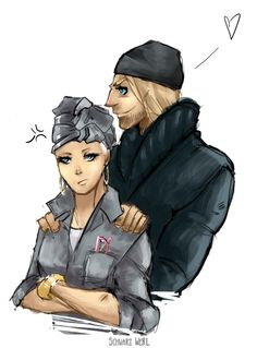 """This right here just fills me with glee. His beanie, his cheeky & possessive look...her """"srs bsns""""/unamused/displeased-about-something face, and how utilitarian-chic she looks...but you know she's honestly enjoying this. She just rarely lets her true feelings show...;} AnotherArt:11.03.15 by WeRLy.deviantart.com on @DeviantArt"""