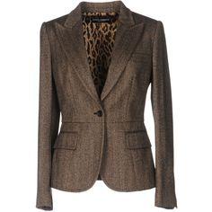 Dolce & Gabbana Blazer (77.670 RUB) ❤ liked on Polyvore featuring outerwear, jackets, blazers, khaki, khaki jacket, one-button blazer, flannel jacket, single breasted jacket and brown blazer jacket