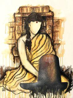 Buy Ekaant artwork number a famous painting by an Indian Artist Mrinal Dutt. Indian Art Ideas offer contemporary and modern art at reasonable price. Arte Shiva, Shiva Art, Krishna Art, Hindu Art, Lord Shiva Painting, Krishna Painting, Holi Painting, Madhubani Art, Madhubani Painting