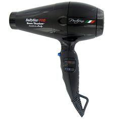 NEW from Babyliss! Powerful 2000 watt hair dryer made in Italy with long life AC motor. Combined effects of ionic generator with nano titanium, conditions hair, making it soft while adding shine. Available in black or blue.