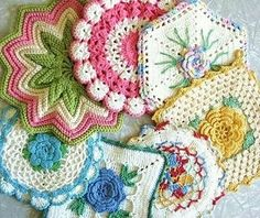 crochet vintage potholders- my Nanna made several of these. Little did I realize what talent & perserverance it took. crochet vintage potholders- my Nanna made several of these. Little did I realize what talent & perserverance it took. Vintage Potholders, Crochet Potholders, Crochet Motifs, Crochet Squares, Crochet Granny, Crochet Doilies, Crochet Flowers, Crochet Patterns, Granny Squares