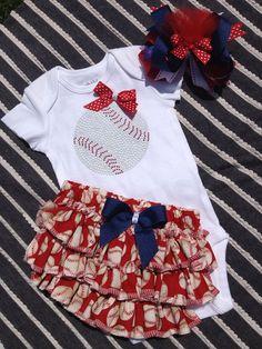 Baby girl baseball onesie/ ruffled by darlingdivacreations on Etsy, $30.00