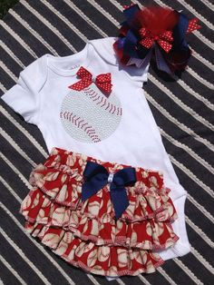 Baby girl baseball onesie/ ruffled baseball bloomer/ baseball bling/baseball coach on Etsy, $30.00