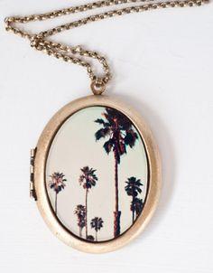 California Love Necklace Photo Locket Urban Fashion  by BreeMadden, $60.00