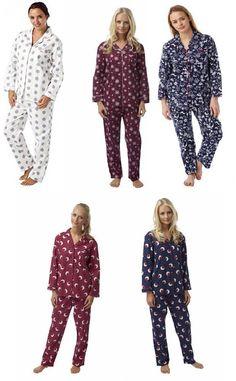 e285e965af Ladies 100% Brushed Cotton Pyjamas PJs Nightwear Sizes 8-20 UK NEW FREE UK  POST