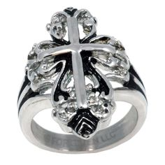 """RAA3 Forgiven Jewelry-Victorian Style Open Cross - Stainless Steel Cross Ring-Christian Jewelry size 8. Comes in sizes 6-10 - Ring Measures just over 1/2"""" wide. Made from High Quality Stainless Steel that will Not TARNISH like Sterling Silver. This style of Ring is symbolic of the Calatrava Cross which was the pre-eminent symbol of Knighthood in Spain and Portugal in 1095 a.d. 12th century design in modern day elegance and style. High polished design beautiful detail."""