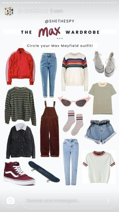 the max wardrobe 80s Party Outfits, 80s Outfit, Retro Outfits, Trendy Outfits, Vintage Outfits, Cute Outfits, Disfraces Stranger Things, 80s Inspired Outfits, Stranger Things Halloween Costume