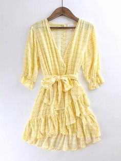 Yellow Boho Mini Dress/Tunic. Bright yellow mini dress. Bohemian mini dress. Kimono style mini dress. Spring dress. Easter dress. Spring trend. Spring fashion. Spring outfit inspo. New arrivals at therollinj.com.