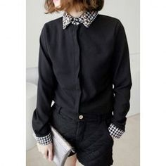 Vintage Houndstooth Collar Rhinestone Embellished Long Sleeve Women's Shirt (BLACK,ONE SIZE) | Vintage Blouses