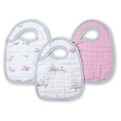 Aden + Anais Feeding and Drool Muslin Snap Bibs Bird Print Pink