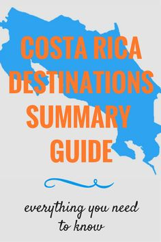 Costa Rica Destinations Summary Guide. This small Central American country has tons of great choices for places to visit, but where do you start? This guide boils down the major towns and some lesser known ones too so that you can jump-start your trip planning.