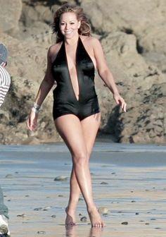 b93b075ded8bc Black monokini deep v neckline Mariah Carey