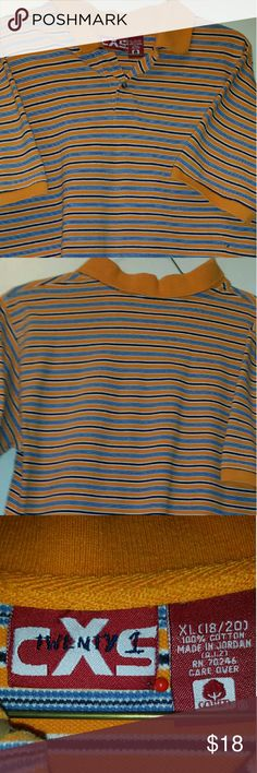 CXS Twenty-one Polo Shirt CXS Twenty-one Polo Shirt orange in color with navy blue and white stripes. Slits on both sides of the shirt  * 100% Cotton CXS Twenty-one  Shirts & Tops Polos
