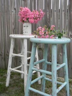 The Cottage Girls - Vintage Distressed Hand Painted Wooden Bar Stools - Three…