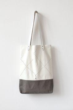 Off White Perforated Tote bag No. TL- 5006 by Coriumi