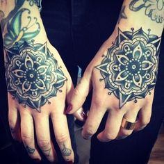 Two Compass Roses #hand #tattoo #compassrose #InkedMagazine