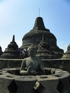 Borobudur java indonesia best ancient temple of Asia Buddha statue and main pagoda.