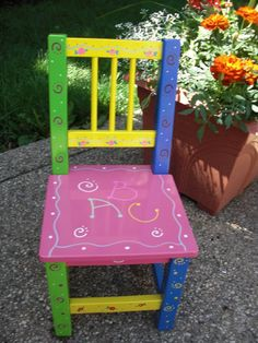 Hand Painted Childrens Chair Kids Chairs Bright Furniture Stools Diy