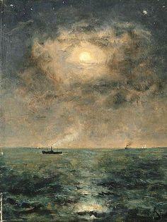 Alfred Stevens (1823-1906) Moonlit Seascape