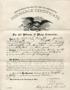 "Civil War Discharge Certificate - 5th Regiment Vermont Volunteers, dated July 12th 1897 for a ""Albert L. Knight"", Private, signed by Adjunct General, sized 7"" x 9""."