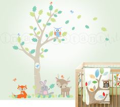 Forest Friends and Small Oak Tree for a Woodland Nursery Wall Decal with Owl, Fox, Deer, Bunny and Birds for Baby, Kids or Children 086