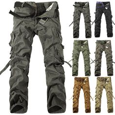 Military New Men's Cargo Camo Combat Work casual Pants Military Trousers Slacks Combat Pants, Army Pants, Military Pants, Military Camouflage, Military Men, Military Fashion, Mens Fashion, Men's Pants, Work Casual