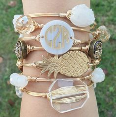 Monogram Disc Wire Bangle, Monogram Bracelet, Monogrammed, Bourbon and Boweties, Moon & Lola Inspired
