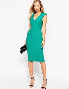 Image 1 ofASOS Wiggle Dress with V Neck in Textured Jersey